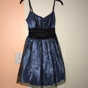 Blue and black sparkly dress